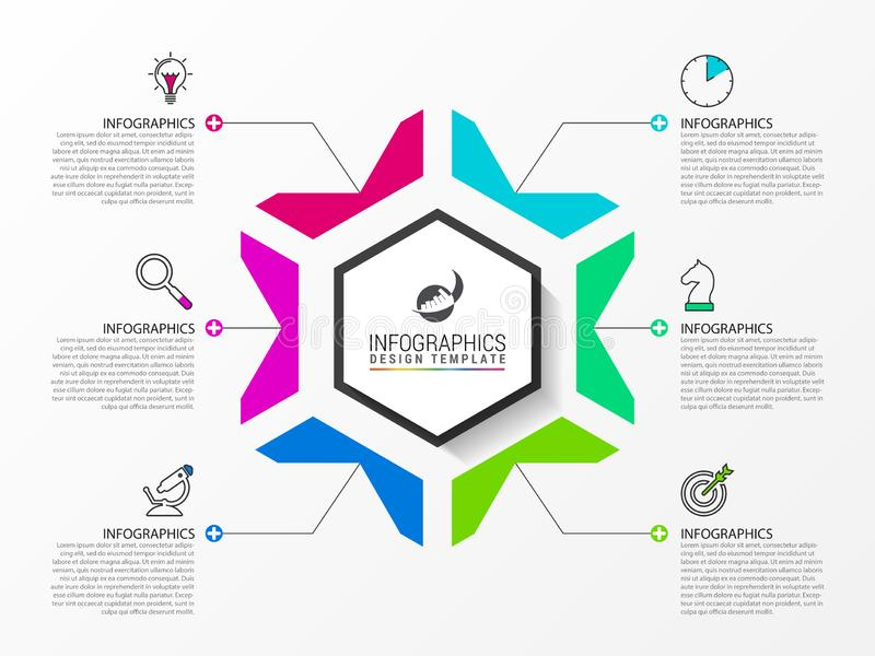 Infographic design template. Creative concept with 6 steps. Can be used for workflow layout, diagram, banner, webdesign. Vector illustration stock illustration