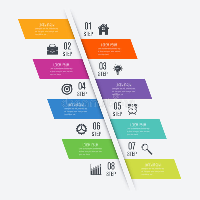 Infographic design template eight option. Template infographics for diagram, graph, presentation and chart. Business concept with 8 options stock illustration