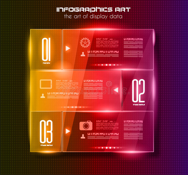 Infographic design template with glass surfaces.and spotlights. Ideal to display information, ranking and statistics with orginal and modern style royalty free illustration