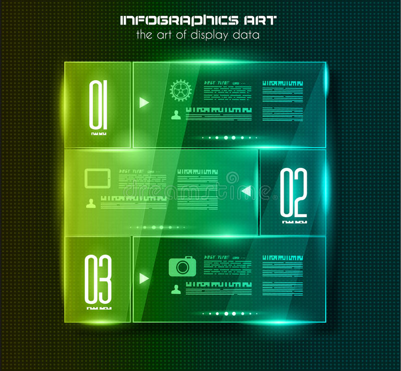 Infographic design template with glass surfaces.and spotlights. Ideal to display information, ranking and statistics with orginal and modern style vector illustration