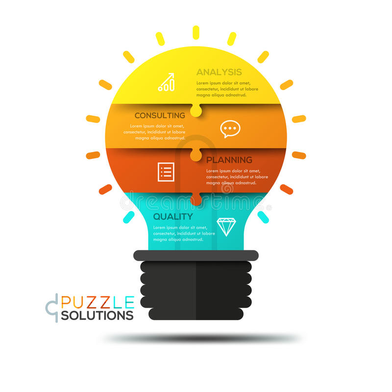 Infographic design template, jigsaw puzzle in shape of glowing light bulb stock illustration