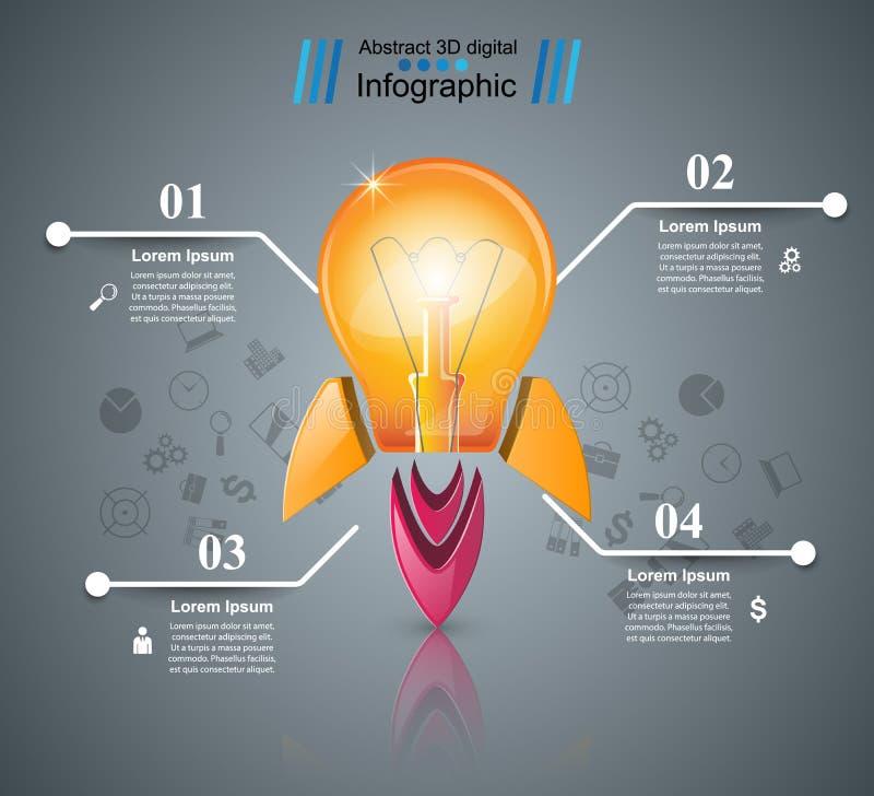 Infographic design. Bulb, Light, rocket icon. Infographic design template and marketing icons. Bulb icon. Light icon stock illustration