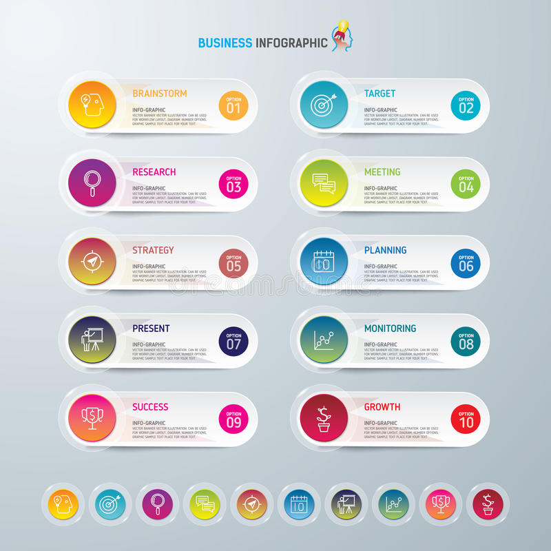 Infographic design template and marketing icons, Business concept with 10 options. vector illustration