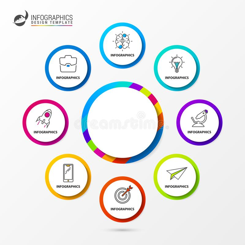 Infographic design template. Organization chart with 8 steps. Vector illustration vector illustration