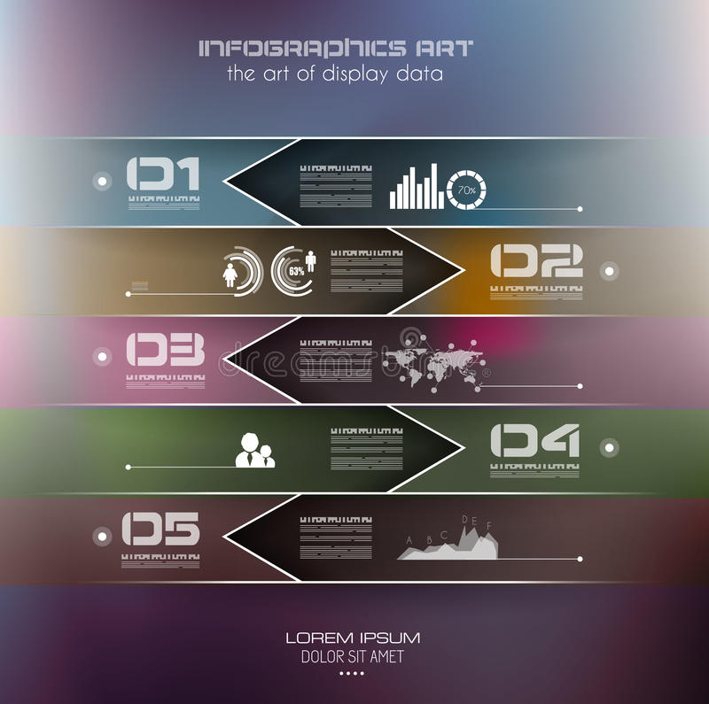 Infographic design template with paper tags. Idea to display information, ranking and statistics with orginal and modern style vector illustration