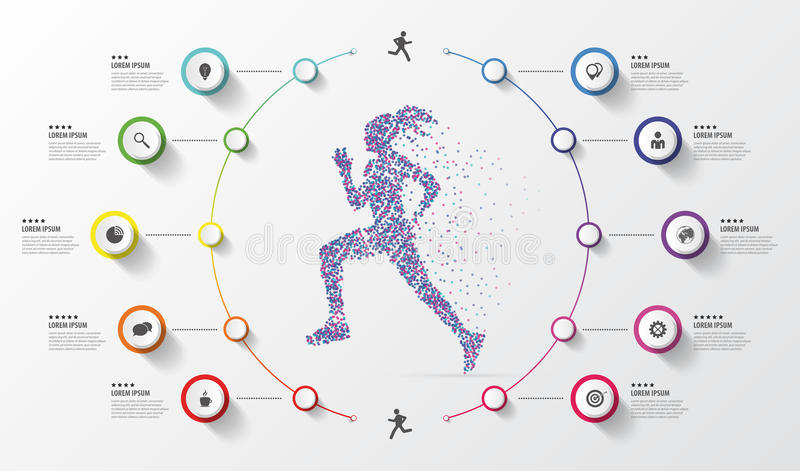 Infographic design template. Running. Colorful circles with icons. Vector illustration royalty free illustration