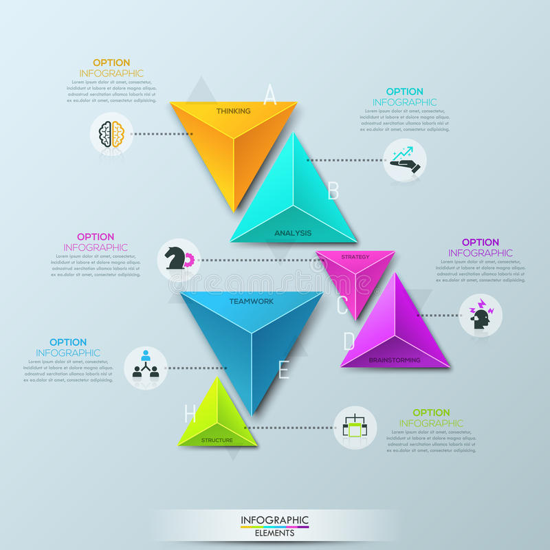 Infographic design template with 6 separate multicolored pyramidal elements divided into pairs. And connected with text boxes. Features of business development stock illustration