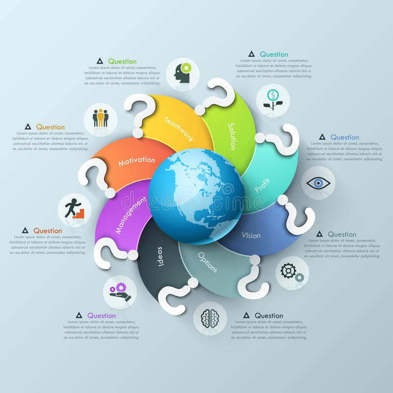 Infographic design template. Spiral multicolored elements with question mark curving around globe, pictograms and text vector illustration