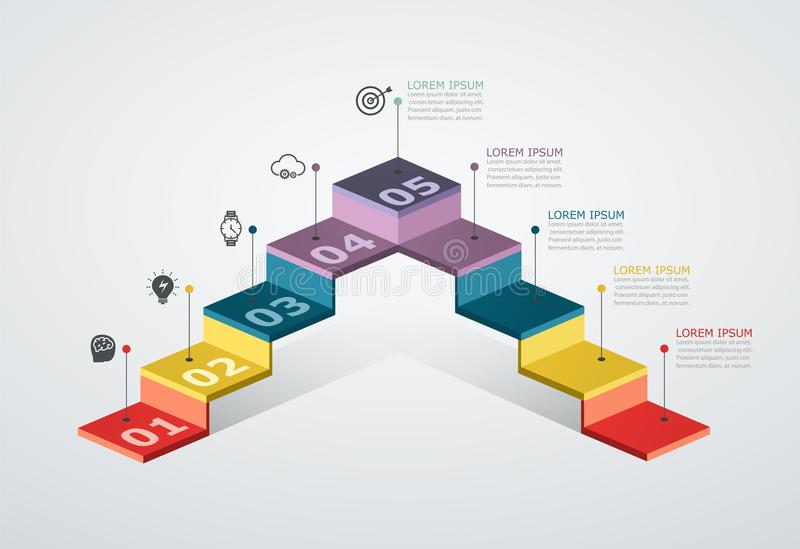 Infographic design template with step structure. Business concept with 5 options pieces. Block diagram, information graph. royalty free illustration