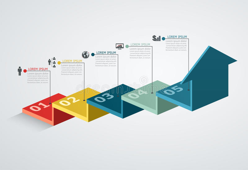 Infographic design template with step structure up arrow. Business concept with 5 options pieces