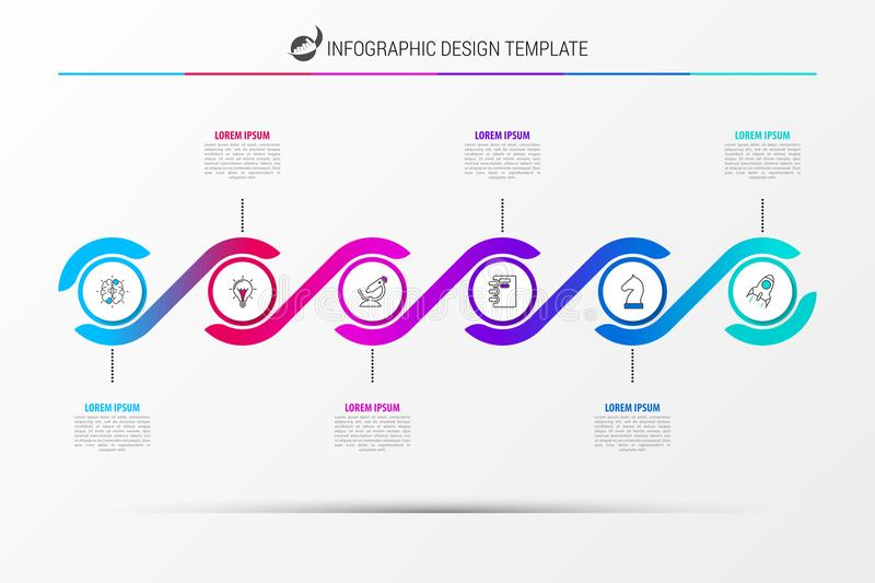 Infographic design template. Timeline concept with 6 steps. Can be used for workflow layout, diagram, banner, webdesign. Vector illustration stock illustration
