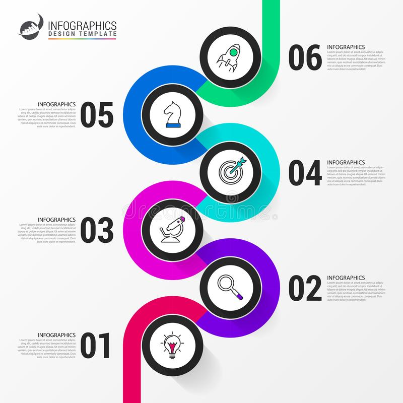 Infographic design template. Timeline concept with 6 steps. Can be used for workflow layout, diagram, banner, webdesign. Vector. Illustration stock illustration