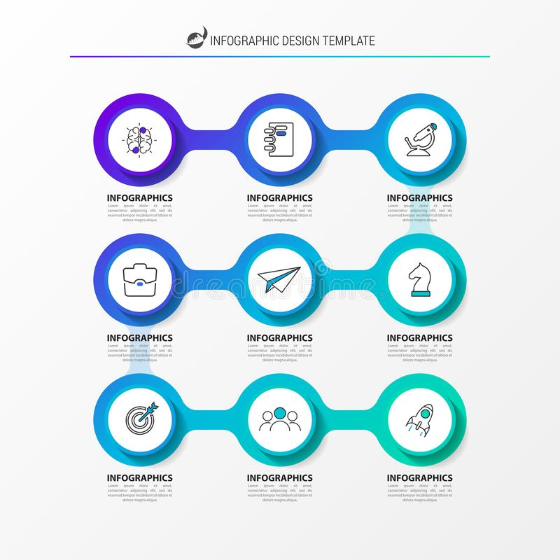 Infographic design template. Timeline concept with 9 steps. Can be used for workflow layout, diagram, banner, webdesign. Vector illustration stock illustration