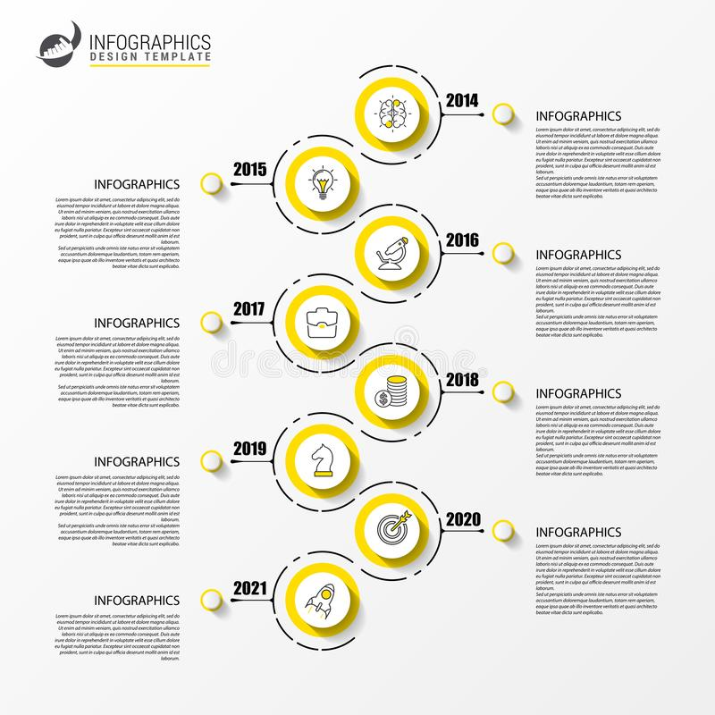 Infographic design template. Timeline concept with 8 steps. Can be used for workflow layout, diagram, banner, webdesign. Vector illustration vector illustration