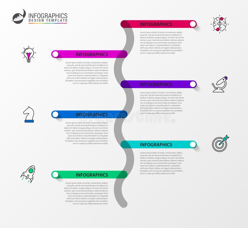 Infographic design template. Timeline concept with 6 steps stock illustration