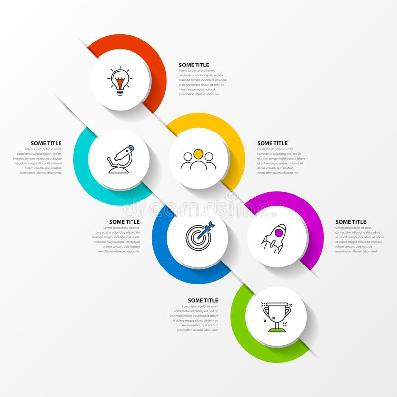 Infographic design template. Timeline concept with 6 steps. Can be used for workflow layout, diagram, banner, webdesign. Vector illustration vector illustration