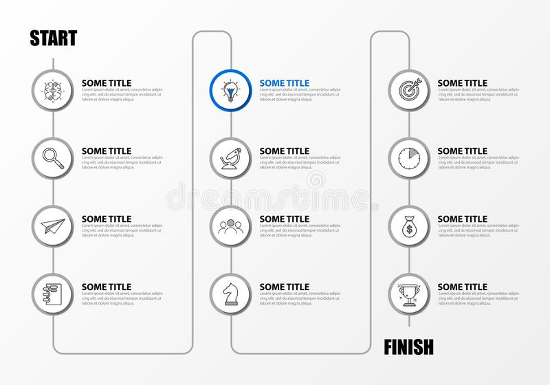 Infographic design template. Timeline concept with 12 steps stock illustration
