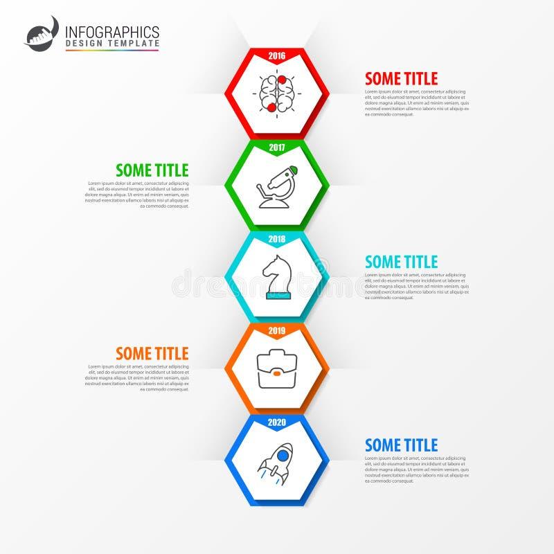 Infographic design template. Timeline concept with 5 steps vector illustration