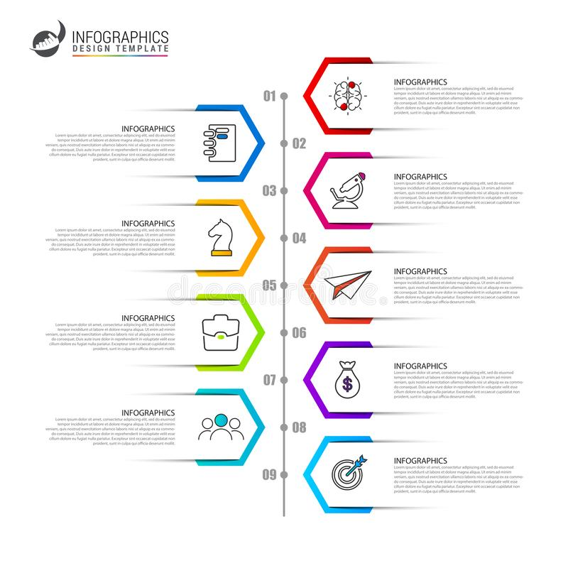 Infographic design template. Timeline concept with 9 steps. Can be used for workflow layout, diagram, banner, webdesign. Vector illustration royalty free illustration