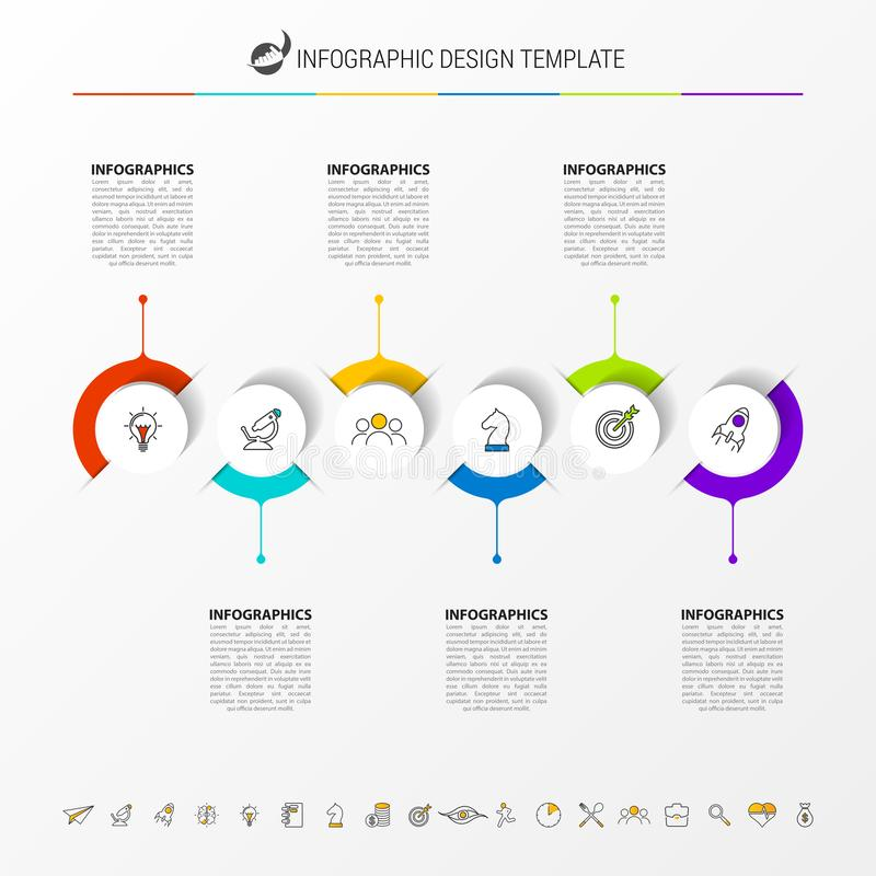 Infographic design template. Timeline concept with 6 steps. Can be used for workflow layout, diagram, banner, webdesign. Vector illustration royalty free illustration
