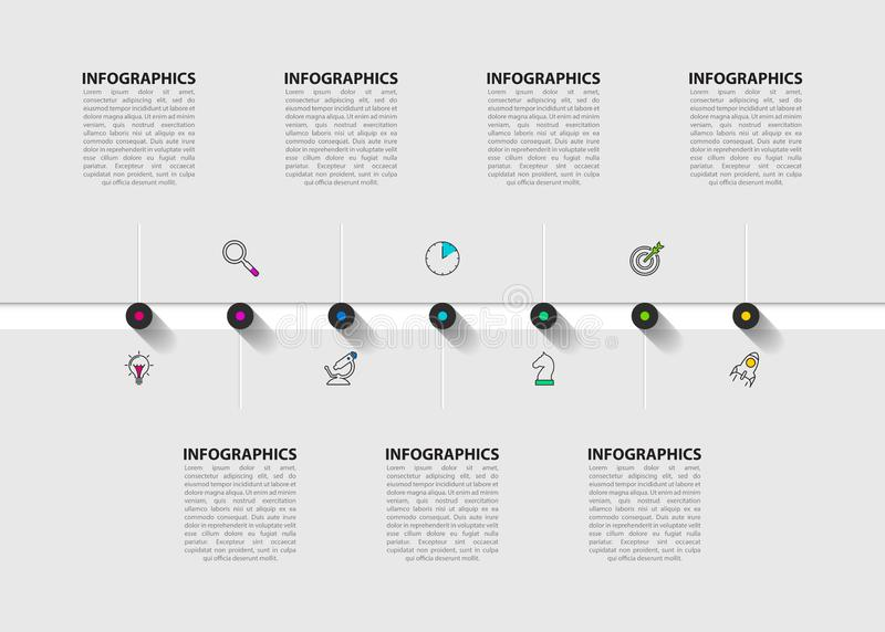 Infographic design template. Timeline concept with 7 steps. Can be used for workflow layout, diagram, banner, webdesign. Vector illustration stock illustration