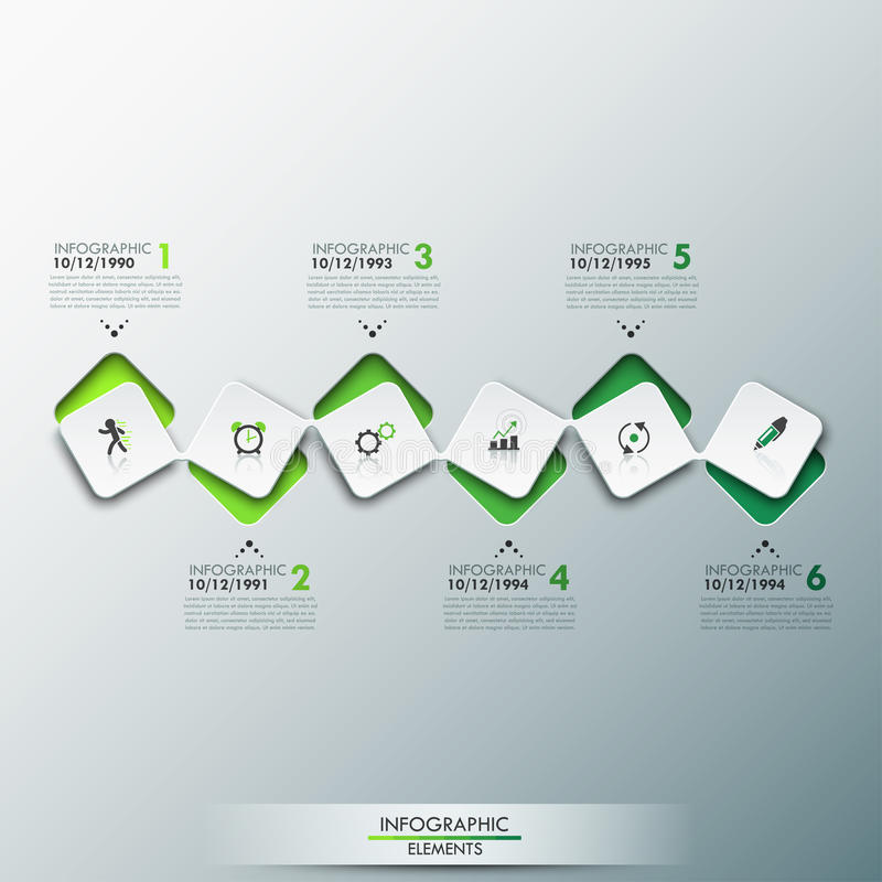 Infographic design template with timeline and 6 connected square elements in green color royalty free stock photo