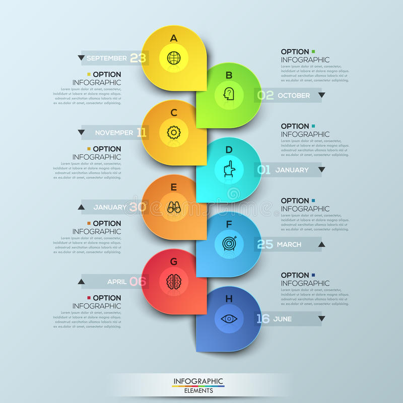Infographic design template with vertical timeline and 8 connected elements royalty free illustration