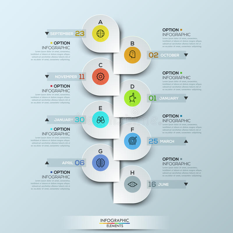 Infographic design template with vertical timeline and 8 connected download infographic design template with vertical timeline and 8 connected icon badges stock vector illustration maxwellsz