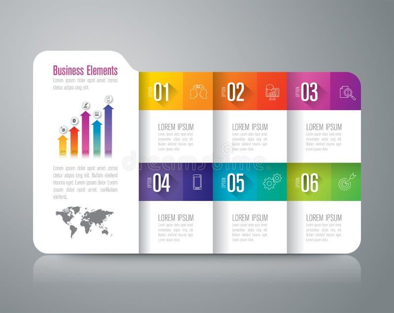 Infographic Design- und Geschäftsikonen des Ordners mit 6 Wahlen vektor abbildung