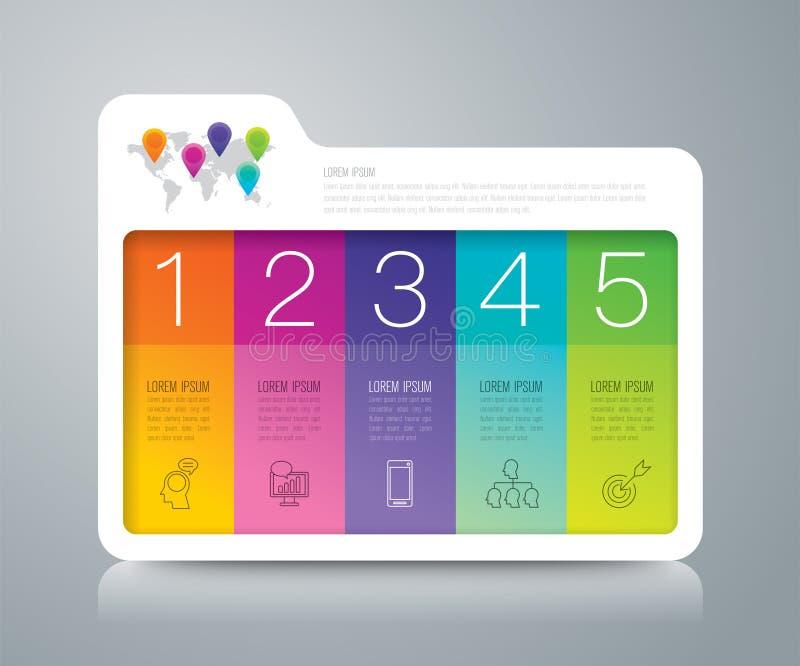 Infographic Design- und Geschäftsikonen des Ordners mit 5 Wahlen stock abbildung