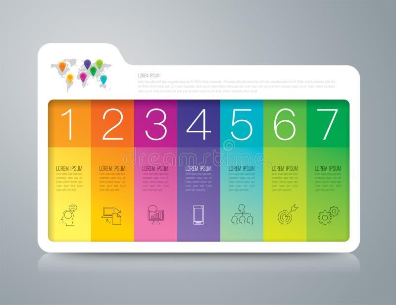 Infographic Design- und Geschäftsikonen des Ordners mit 7 Wahlen vektor abbildung