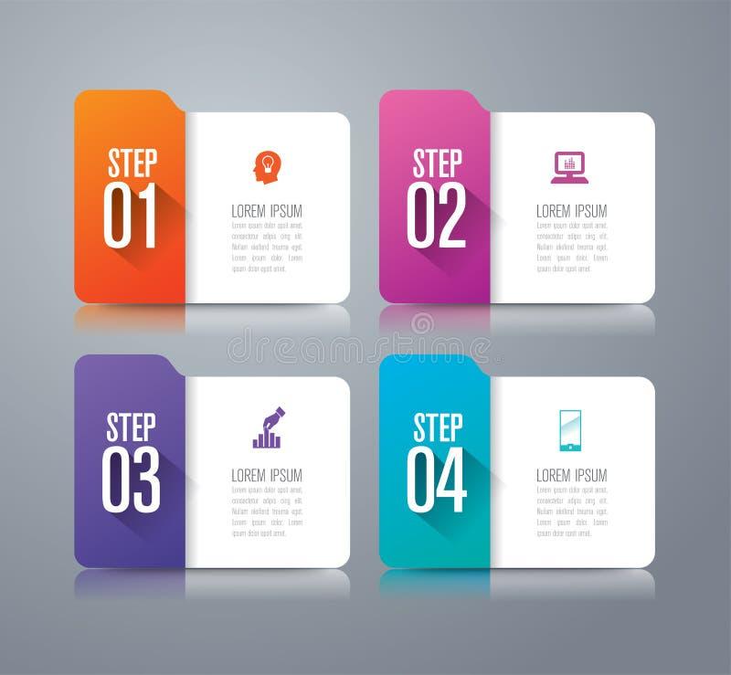 Infographic Design- und Geschäftsikonen des Ordners mit 4 Wahlen lizenzfreie abbildung