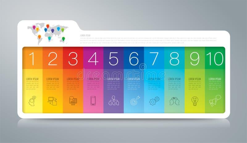 Infographic Design- und Geschäftsikonen des Ordners mit 10 Wahlen stock abbildung
