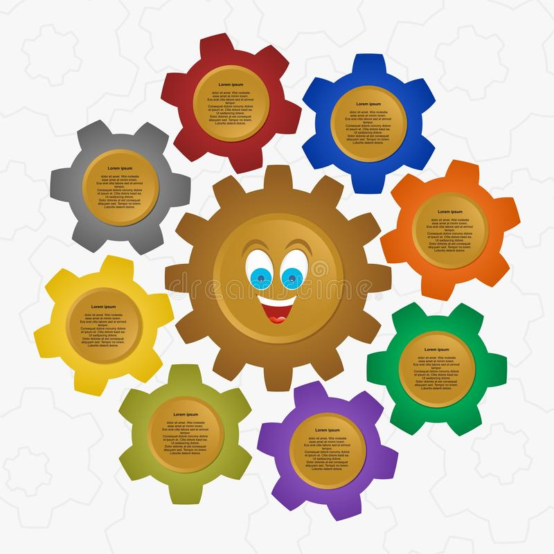 Infographic design vector with brown toothed wheel in the middle of down laughing face with a big smile with colorful gears around vector illustration