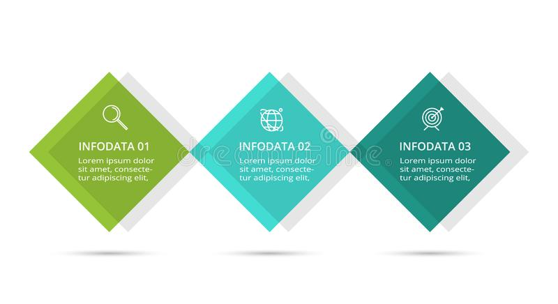 Infographic design vector and marketing icons for diagram, graph, presentation and round chart. Concept with 3 options. Business data visualization. Process royalty free illustration