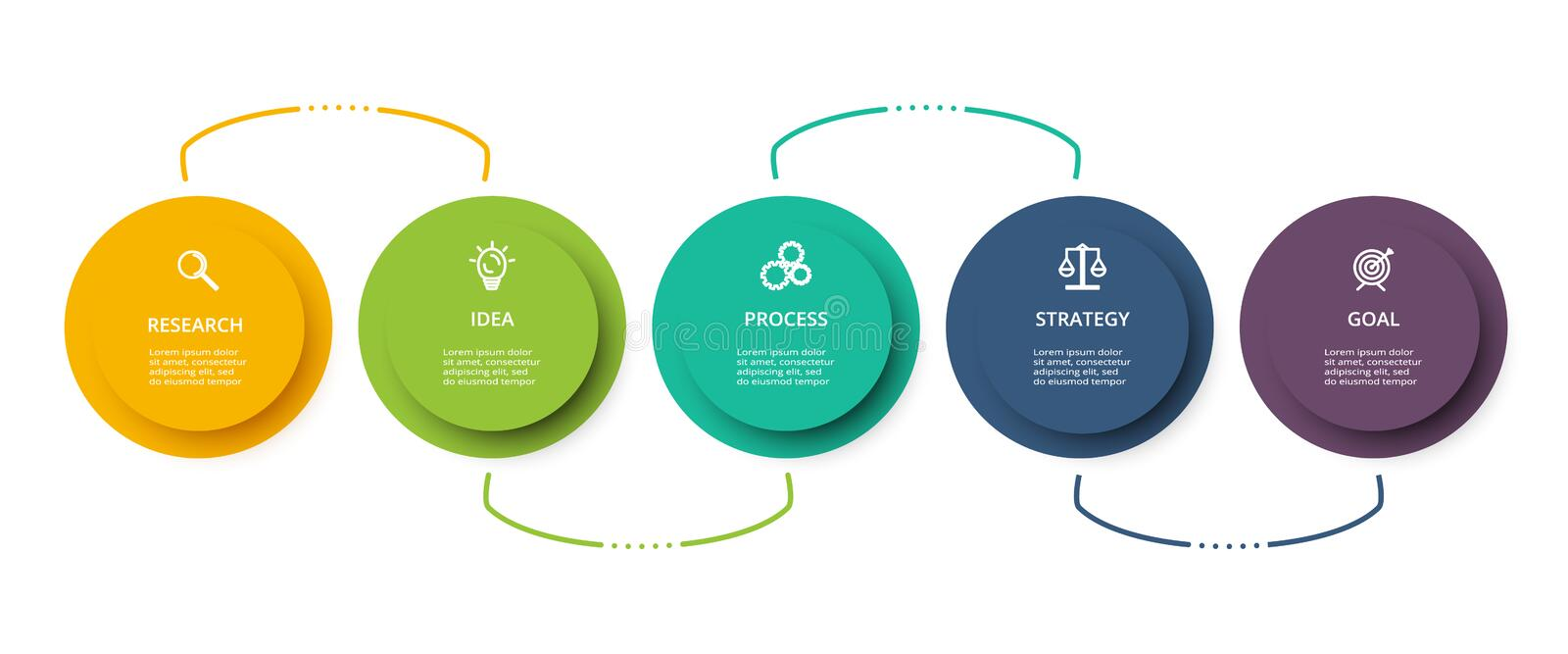 Infographic design vector and marketing icons for diagram, graph, presentation and round chart. Concept with 5 options. Business data visualization. Process vector illustration