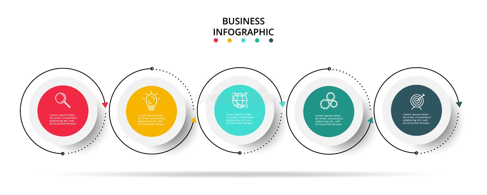 Infographic design vector and marketing icons for diagram, graph, presentation and round chart. Concept with 5 options. Business data visualization. Process stock illustration