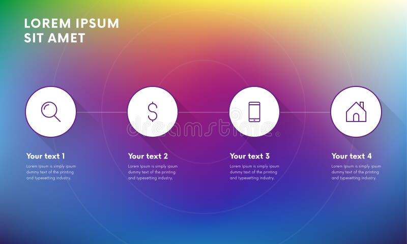 Infographic designbeståndsdelar för din affär med 4 alternativ, särar, kliver eller processar vektor stock illustrationer