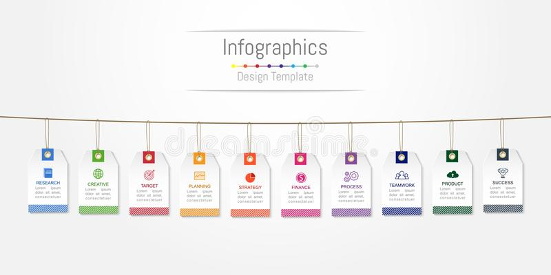 Infographic designbeståndsdelar för dina affärsdata med 10 alternativ, delar, moment, timelines eller processar, etikettetikettsb stock illustrationer