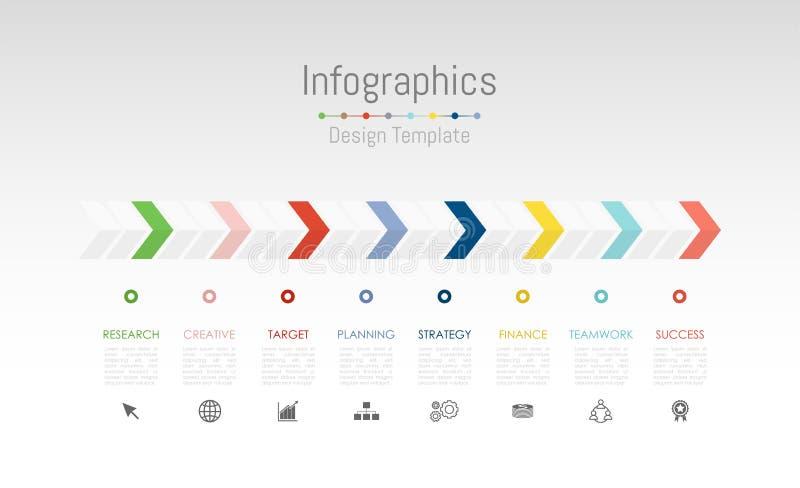 Infographic designbeståndsdelar för dina affärsdata med 8 alternativ, delar, moment, timelines eller processar vektor stock illustrationer