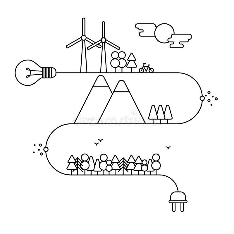 Infographic designbeståndsdelar i linjär stil, energiillustration, naturreserv, beskydd av resurser vektor illustrationer