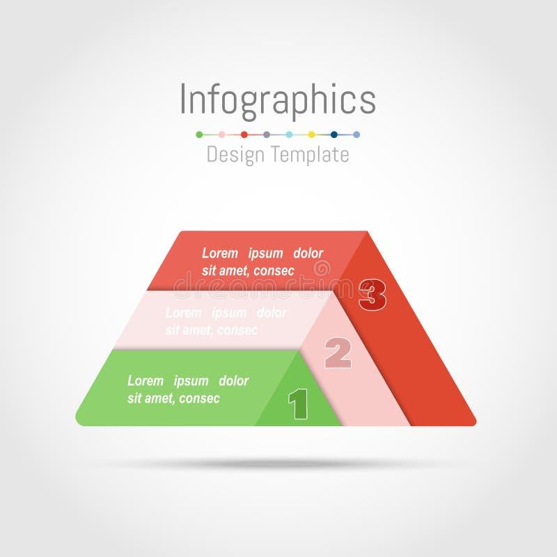 Infographic designbeståndsdelar med triangelform för dina affärsdata med 3 alternativ, delar, moment, timelines eller processar vektor illustrationer