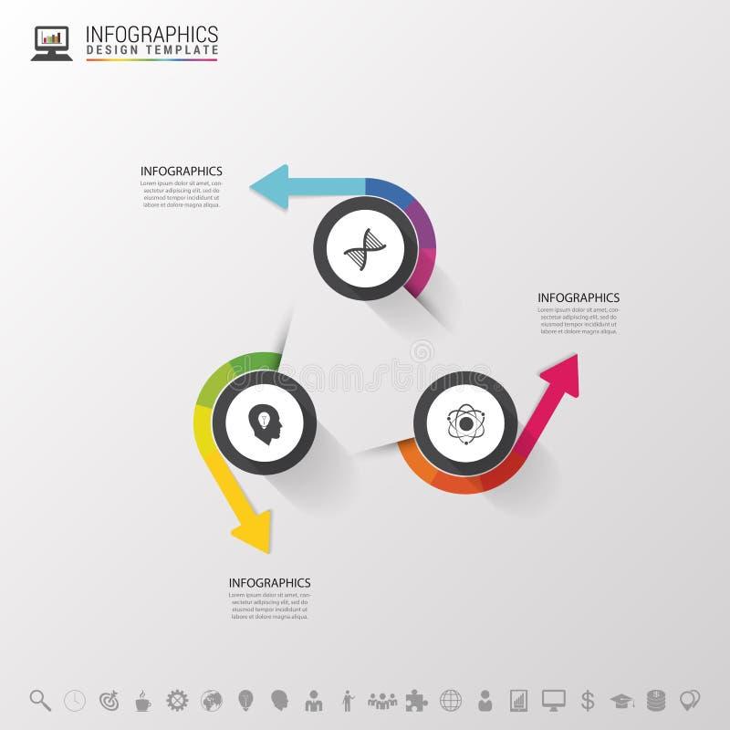 Infographic designcirklar på den gråa bakgrunden också vektor för coreldrawillustration vektor illustrationer