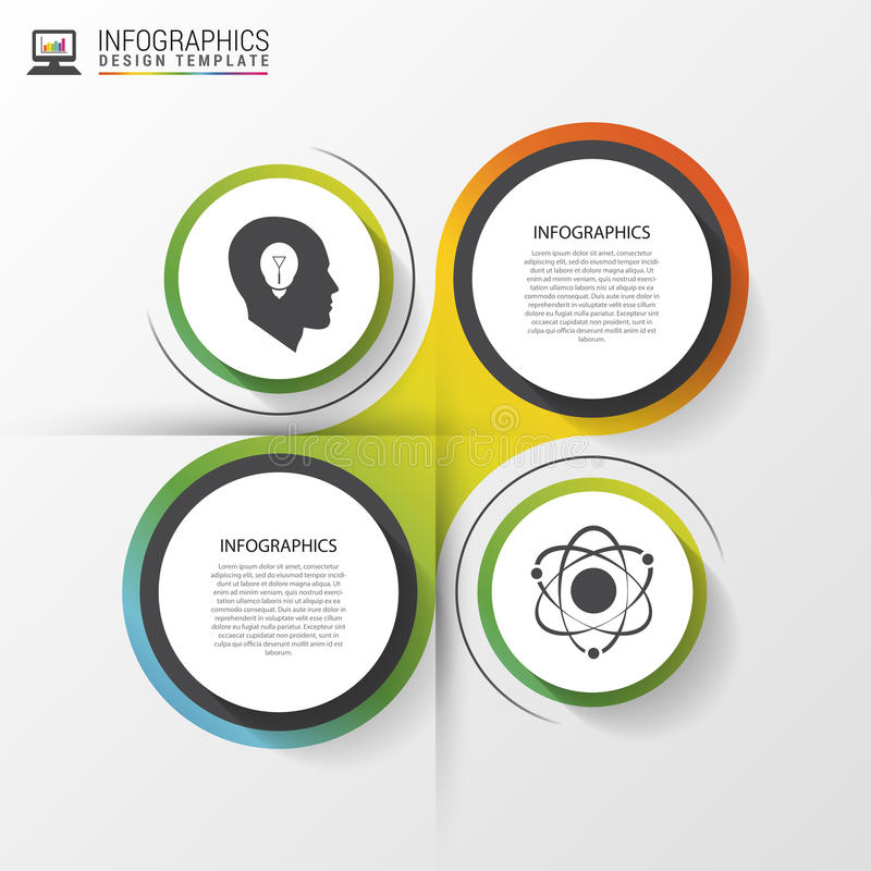 Infographic designcirklar på den gråa bakgrunden också vektor för coreldrawillustration royaltyfri illustrationer