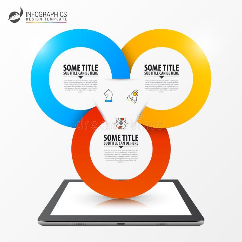 Infographic designmall Affärsidé med 3 moment vektor illustrationer