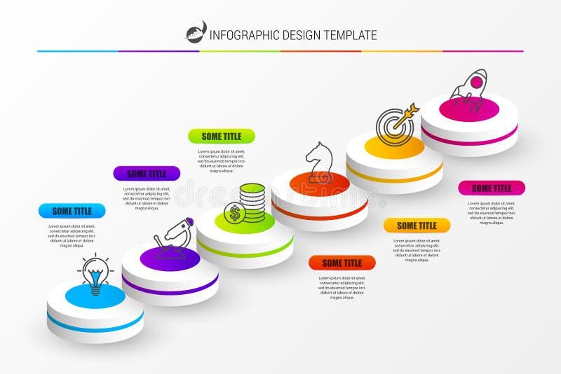 Infographic designmall Affärsidé med 6 moment stock illustrationer