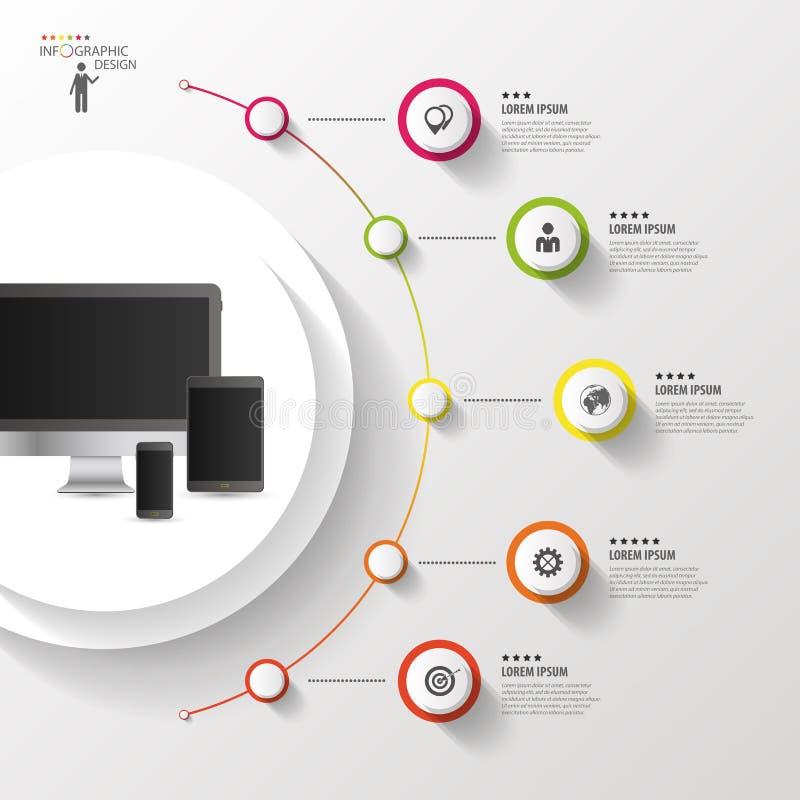 Infographic designmall Färgrik cirkel med symboler också vektor för coreldrawillustration vektor illustrationer