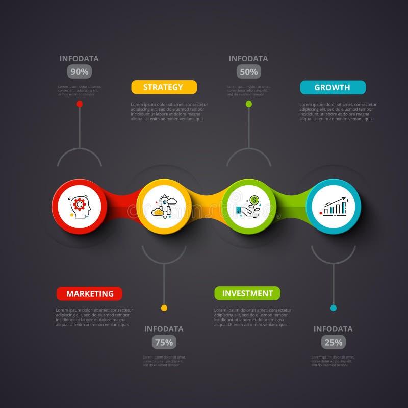 Infographic designmall för mörk vektor Affärsidéen med 4 alternativ, särar, kliver eller processar kan användas för vektor illustrationer