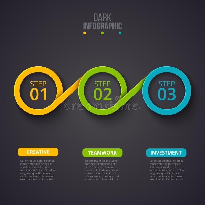 Infographic designmall för mörk vektor Affärsidéen med 3 alternativ, särar, kliver eller processar kan användas för vektor illustrationer