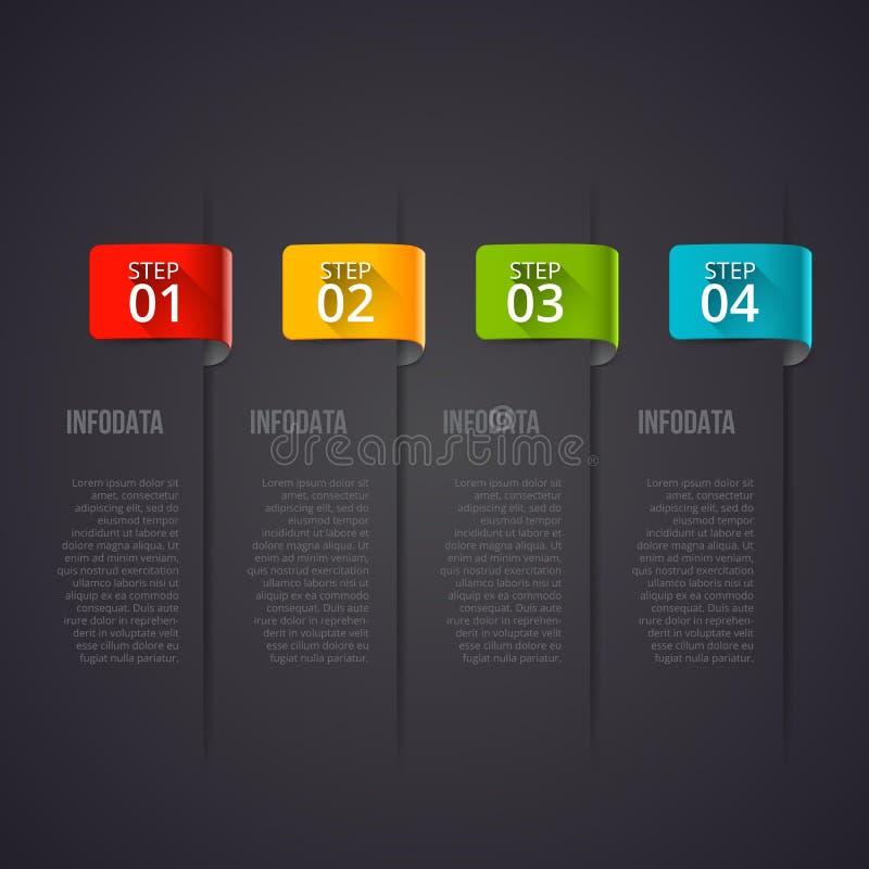 Infographic designmall för mörk vektor Affärsidéen med 4 alternativ, särar, kliver eller processar kan användas för royaltyfri illustrationer